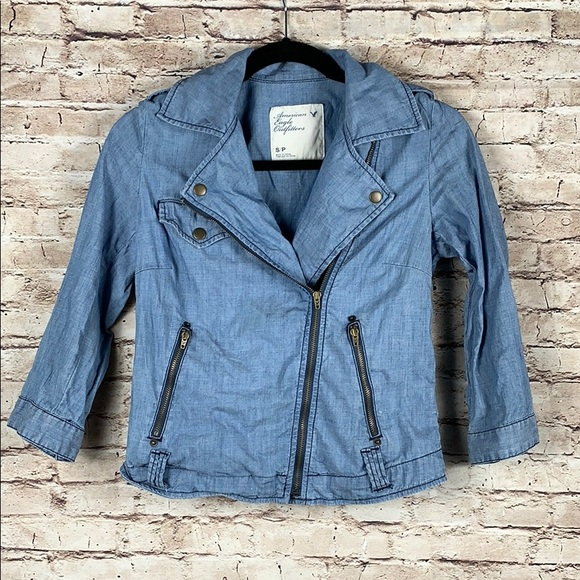 American Eagle Outfitters Jackets & Blazers - American Eagle Chambray Moto Blazer Jacket Blue